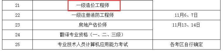 2021年湖南二级造价工程师考试时间