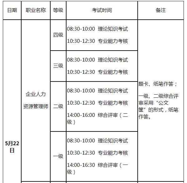 江苏四级人力资源管理师考试时间