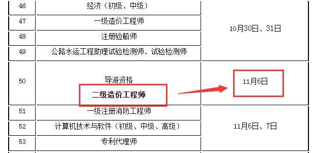 2021江苏二级造价师考试时间