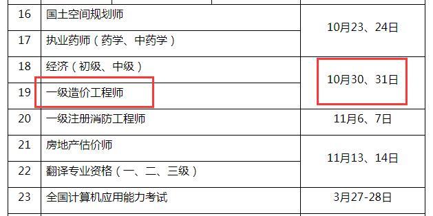 2021年重庆一级造价工程师考试时间