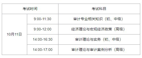 2020年湖南中级审计师考试科目