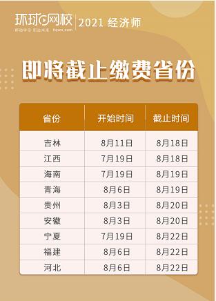 8月18日5地2021年初级经济师报名进行中,多地缴费时间即将截止!