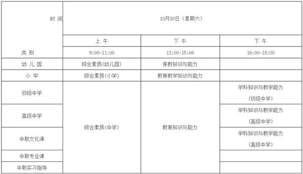 2021年下半年安徽教师资格证笔试时间