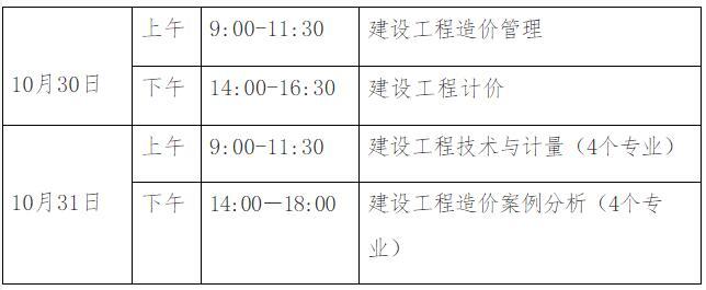 2021贵州一级造价师各科目考试时间