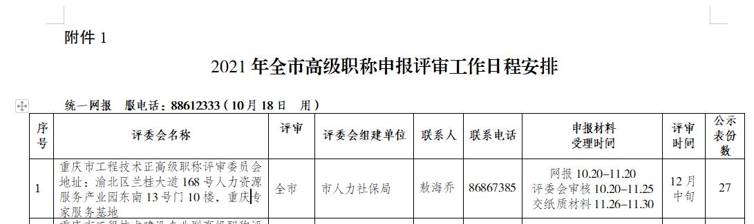 关于印发2021年重庆高级经济师职称评审申报工作方案的通知1